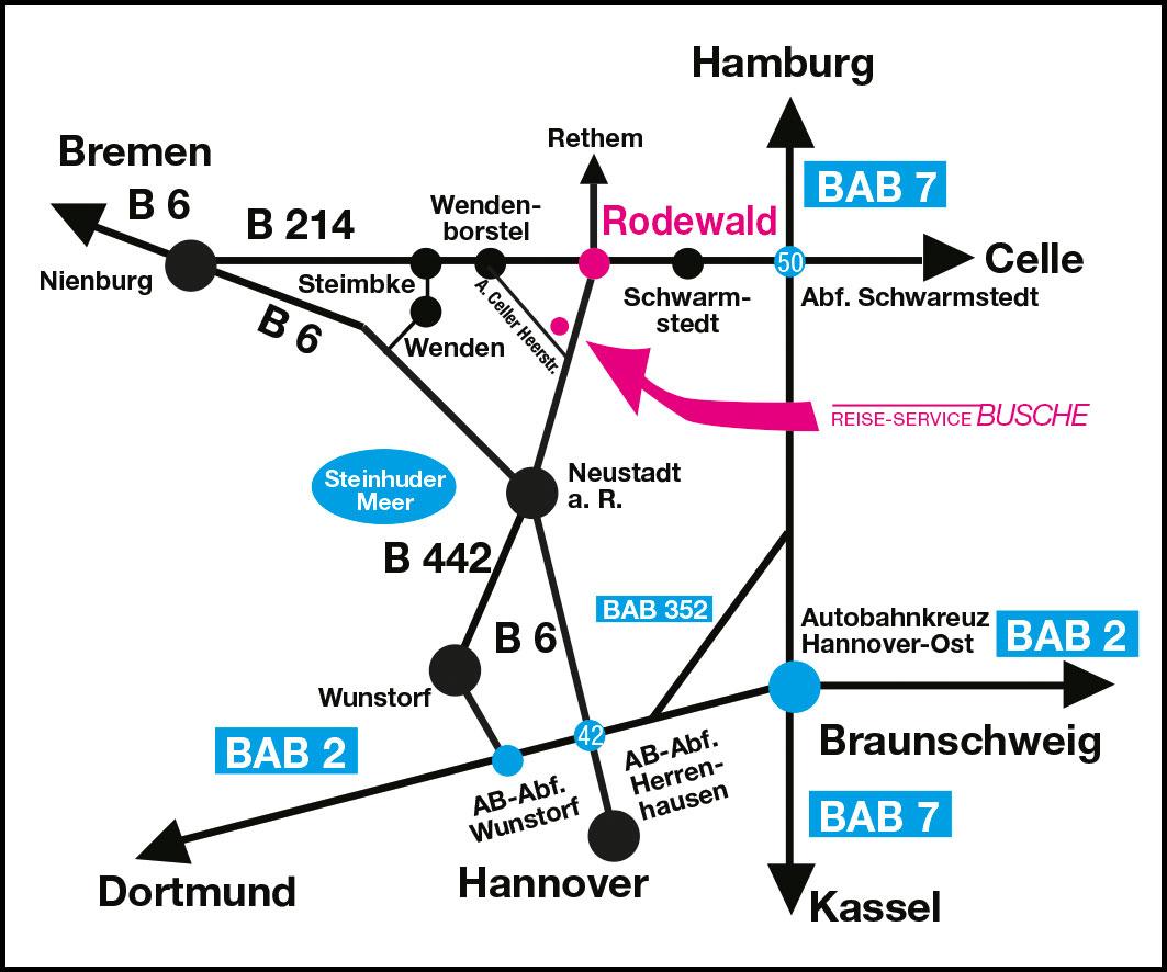 Anfahrt Busche Reisen Rodewald